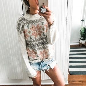 Nordic Chunky Knit Fair Isle Vintage Sweater a6*